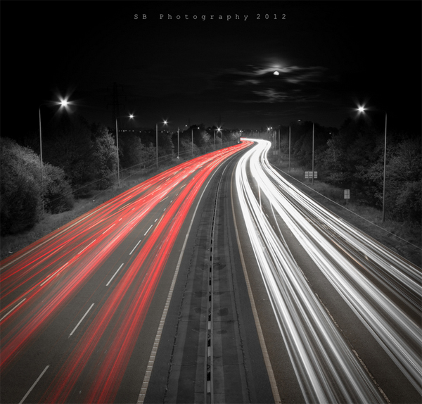 1 black white splash color red road