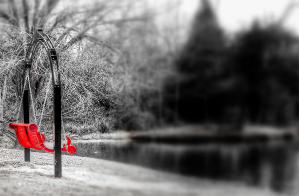 5 black white red park lake swing color splash