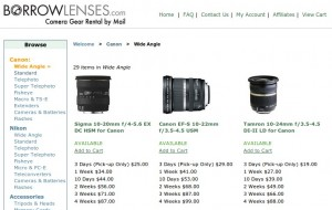 BorrowLenses screenshot