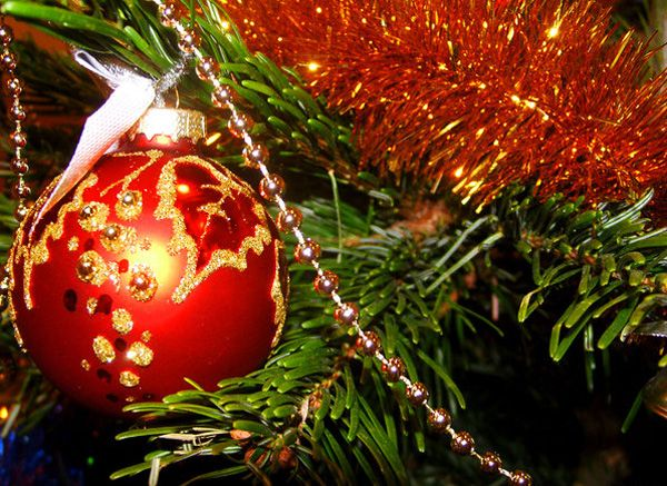 New Year tree decorations with balls