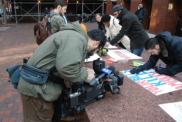 Photos of SOPA and PIPA Protests on the Streets of NYC