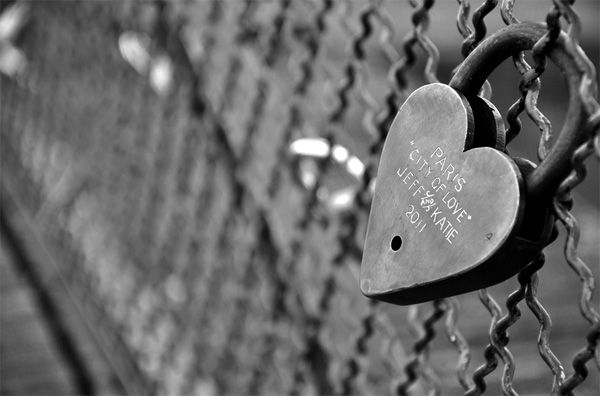 Black and white photography: Love Locked Forever