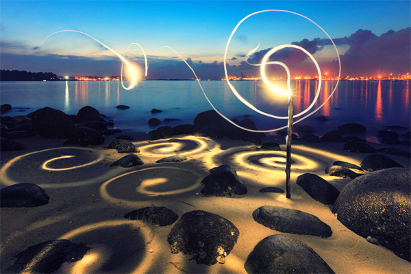 spiral lightings on a beach