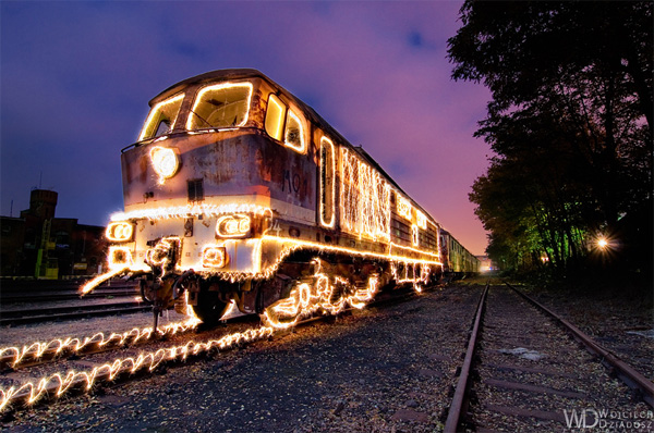 burning train photo created with light paintings