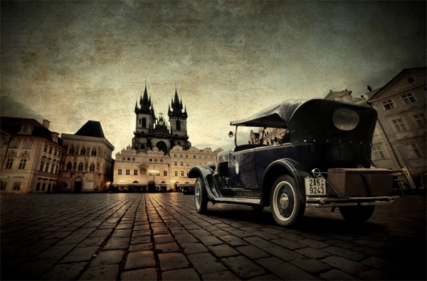 vintage car and prague photo