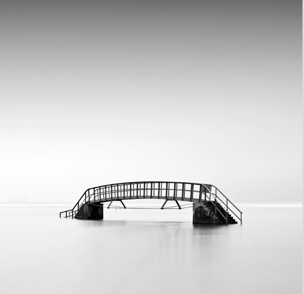 minimalist black and white photography: bridge