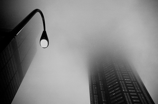 minimalist black and white photography: street lamp