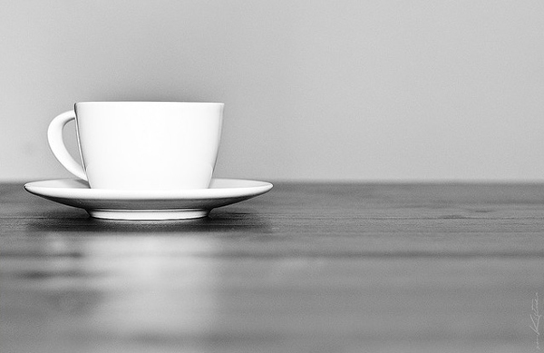 minimalist black and white photography: a cup of coffee