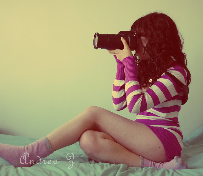 girl with a photo camera