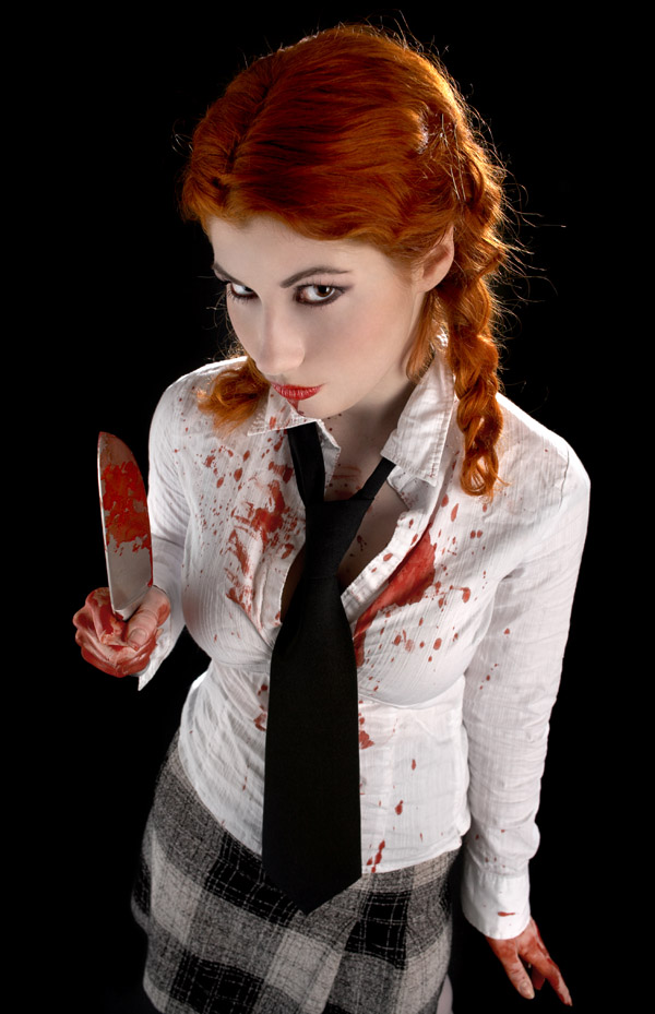 scary horror girl blood knife