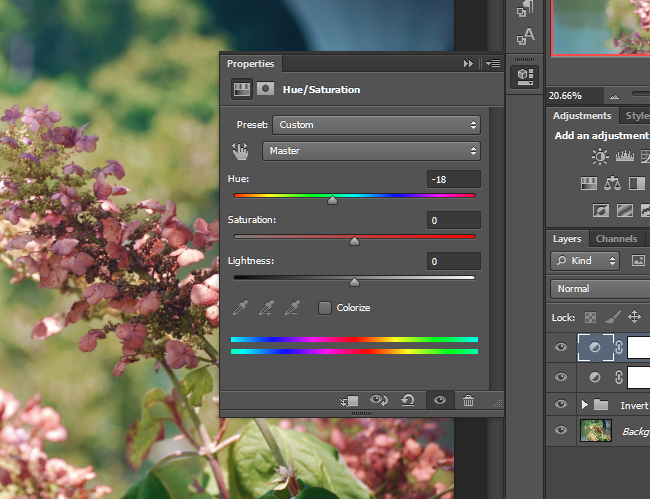 Move the sliders the adjust the Hue / Saturation for all of the colors in the image.