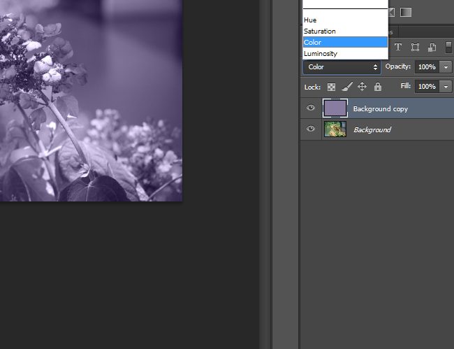 Change the blending mode to Color and lower the opacity.
