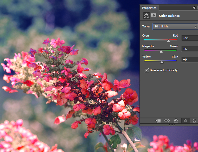 Adjust the Color Balance for the Highlights.