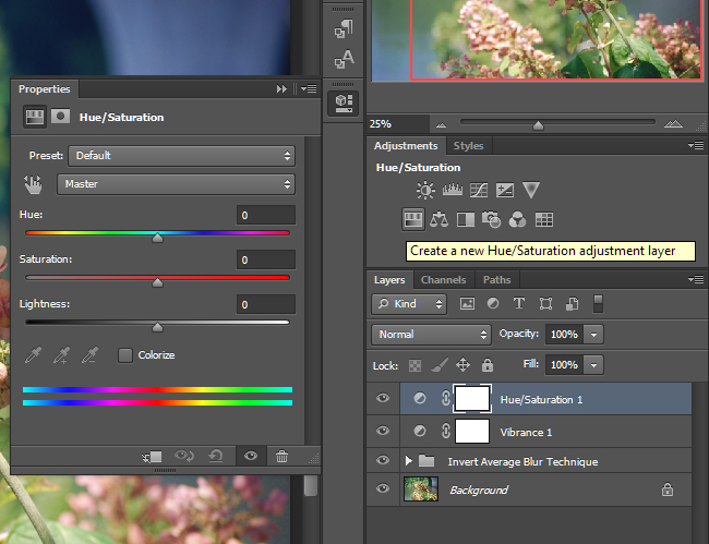 Create a Hue/Saturation adjustment layer.
