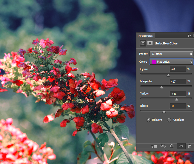 Adjust the intensity of the CMYK values for the Magenta areas of the photo.