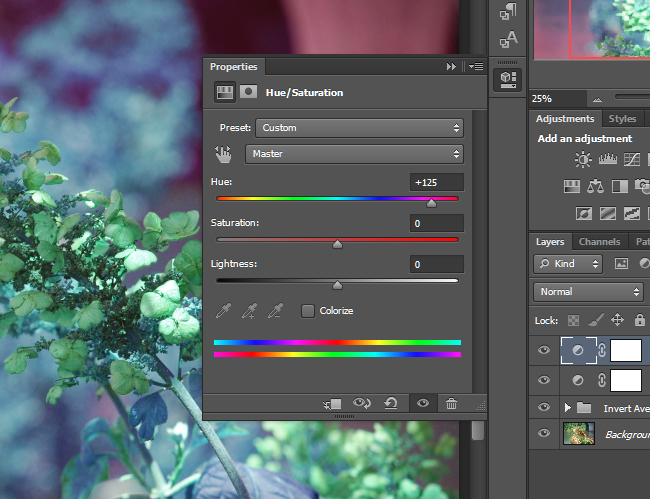 You can dramatically alter the colors in a photo by adjusting the Hue / Saturation.