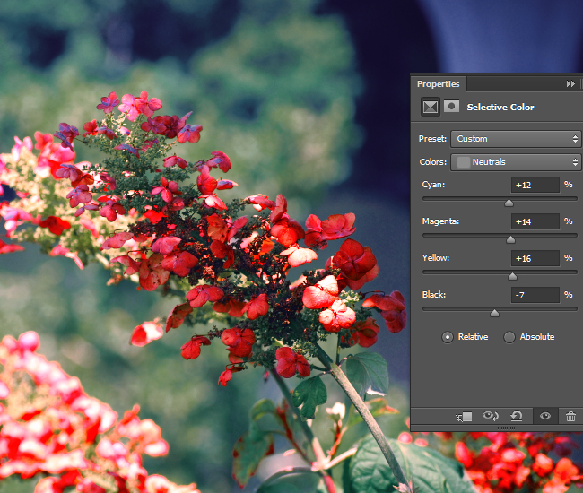 Adjust the intensity of the CMYK values for the Neutral areas of the photo.