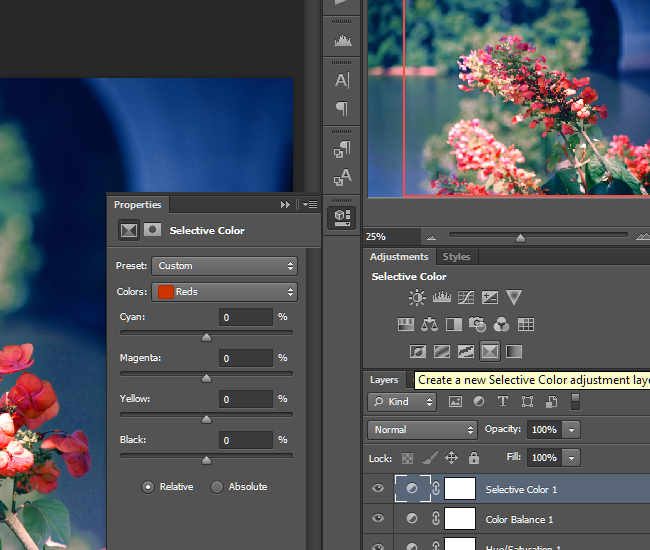 Create a Selective Color adjustment layer.