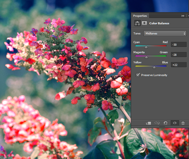 Adjust the Color Balance for the Shadows.
