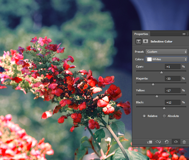 Adjust the intensity of the CMYK values for the White areas of the photo.