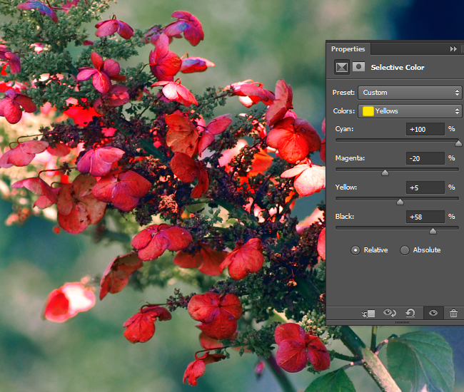 Adjust the intensity of the CMYK values for the yellow areas of the photo.