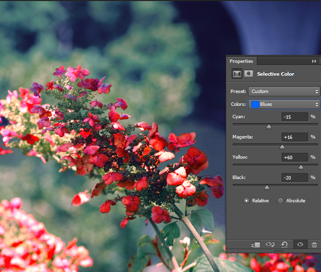 Adjust the intensity of the CMYK values for the Blue areas of the photo.