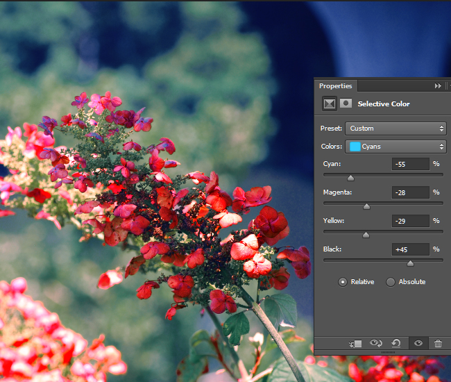 Adjust the intensity of the CMYK values for the cyan areas of the photo.
