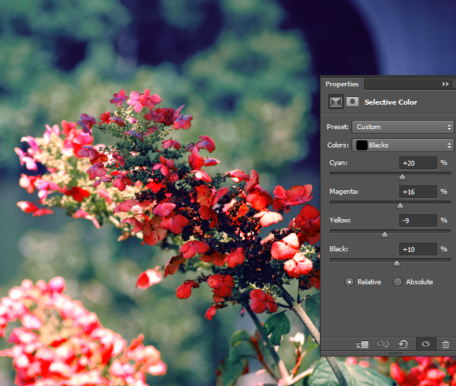 Adjust the intensity of the CMYK values for the black areas of the photo.