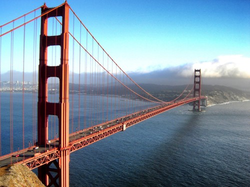 The iconic Golden Gate Bridge spanning the bay in San Francisco.
