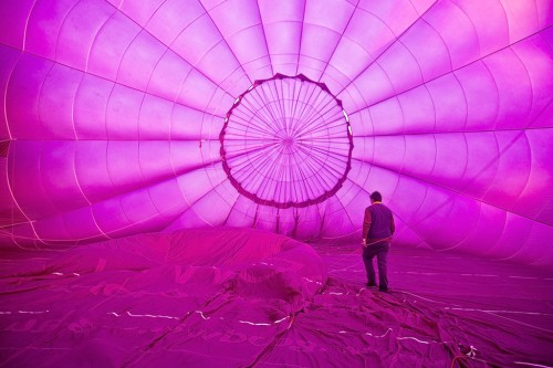 A hot air balloon being filled before launch.