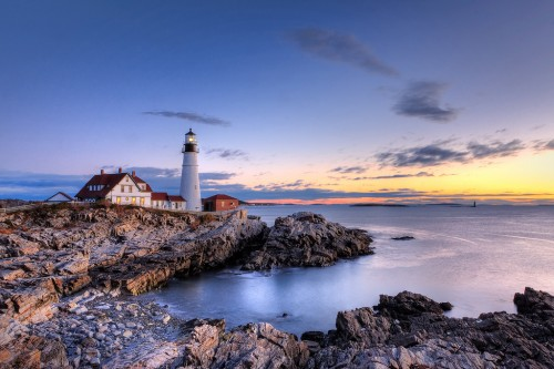 An epic shot of the Portland Head Lighthouse in Maine.