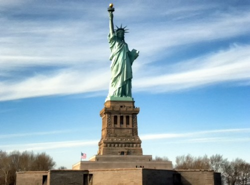 The Statue of Liberty and Ellis Island in New York City.