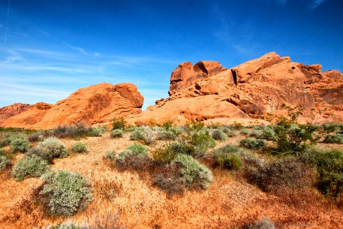 Rocky desert formations in the Valley of Fire outside of Las Vegas, Nevada