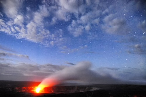 An erupting volcanic vent in Hawaii.