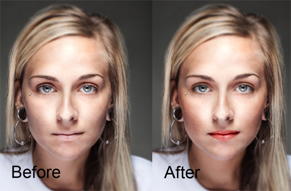Instant face retouching in photoshop creamy light skin makeup.