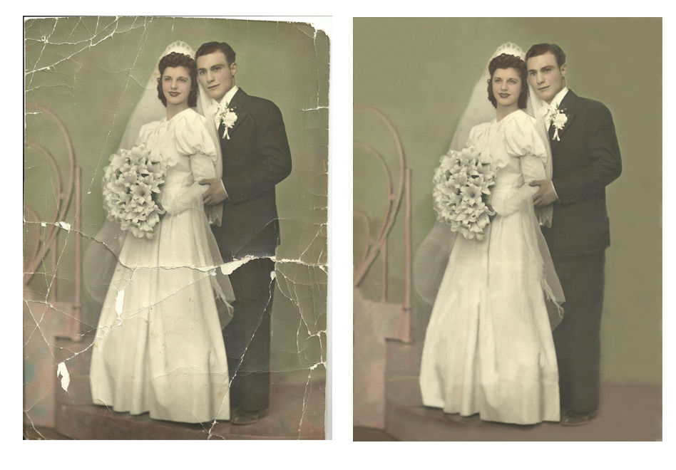 With some clever use of the clone brush in Photoshop you can even fix rips and cracks in photographs.