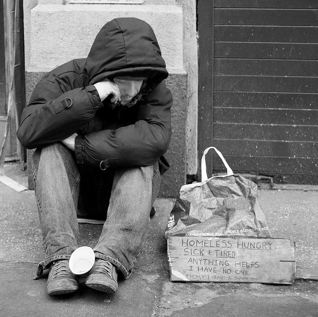 Homelessness is a real problem and a power storyteller in a photograph. Photo by SamPac.