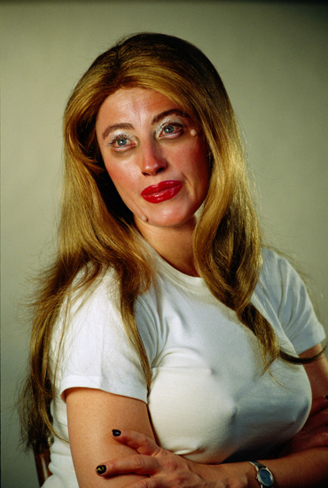 Often it's good to over etherize features, this can make for a rather disturbing addition to an image. By Cindy Sherman