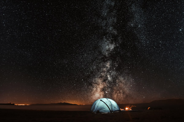milky way over a tent