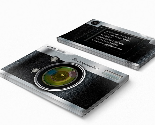 Camera Pocket Folder Design and Business Card Template
