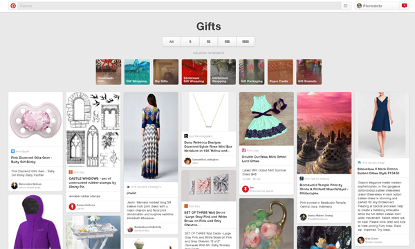 Gifts category on Pinterest