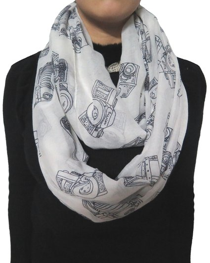 Camera Print Scarf Ladies