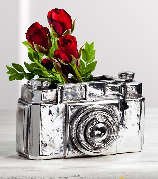 Photo Camera Vase Decor