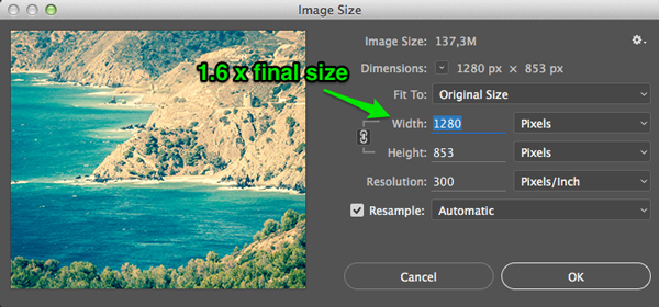 how to resize images for the web