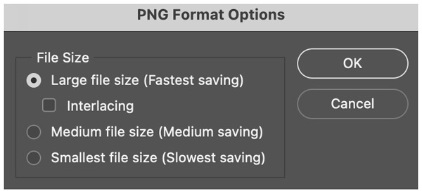 PNG format options window
